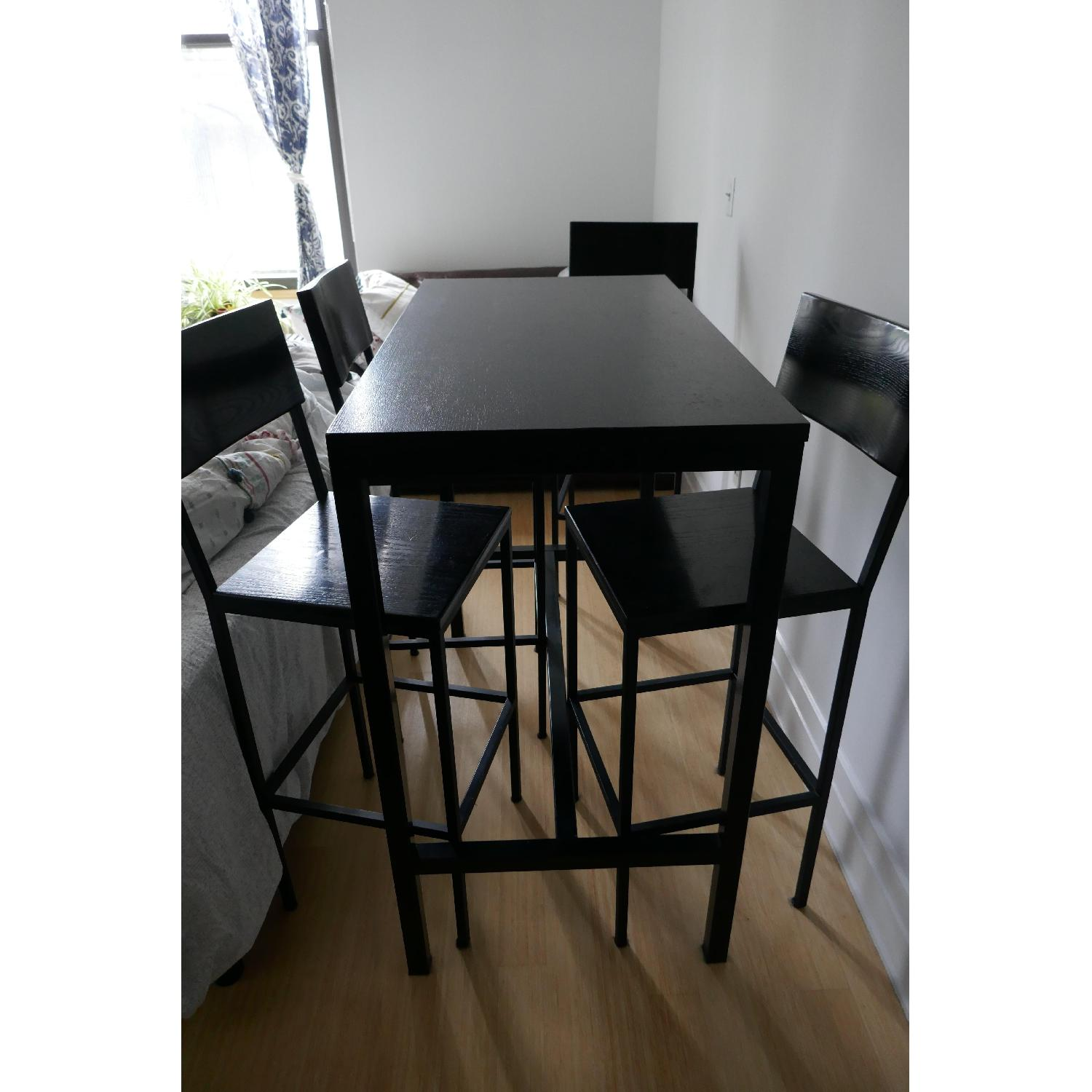 Black Metal Bar Height Table w/ 4 Chairs-0