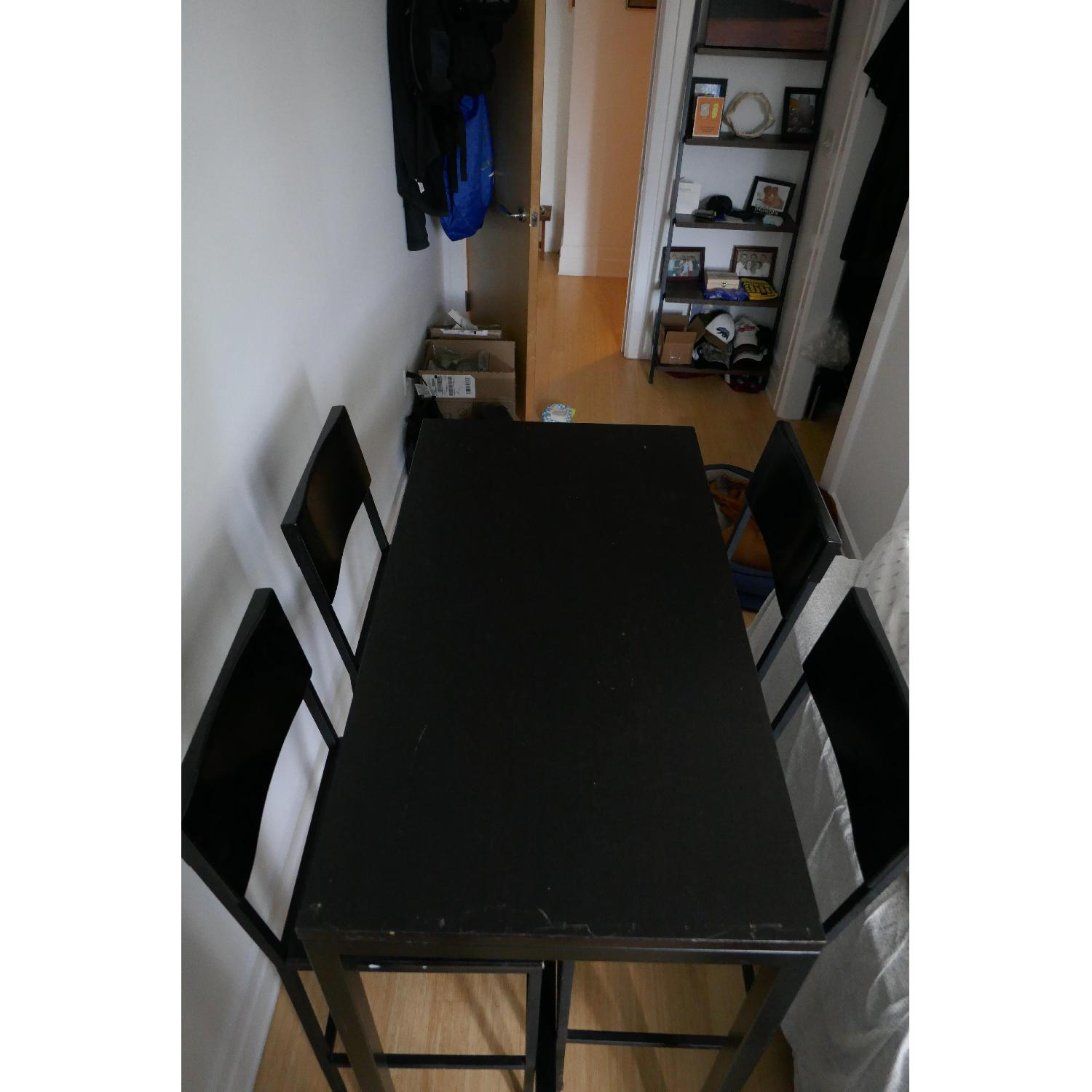 Black Metal Bar Height Table w/ 4 Chairs-1
