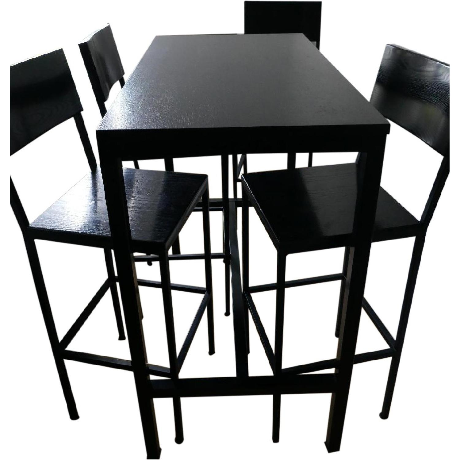 Black Metal Bar Height Table w/ 4 Chairs