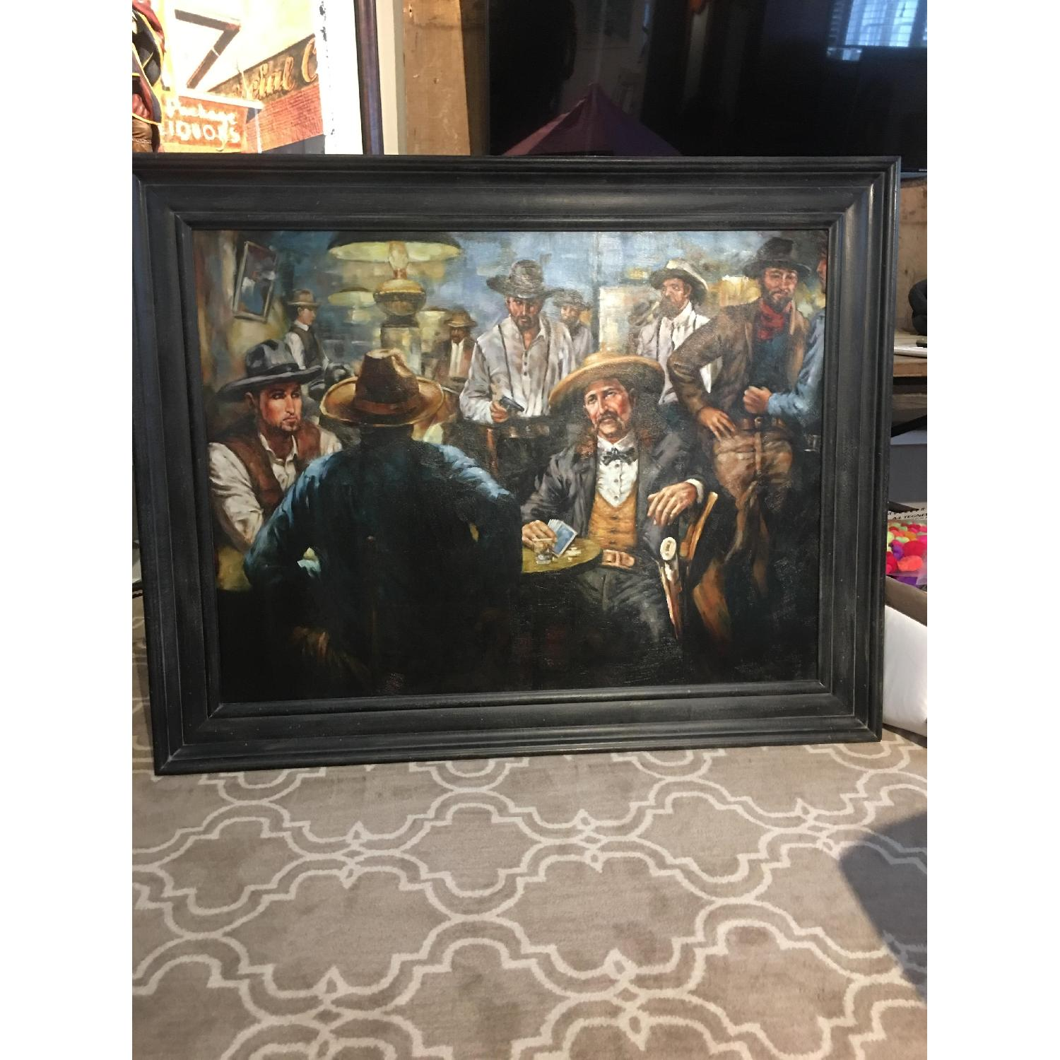 West Poker Gallery Wrap Le Beau Giclee Cowboy Painting - image-2