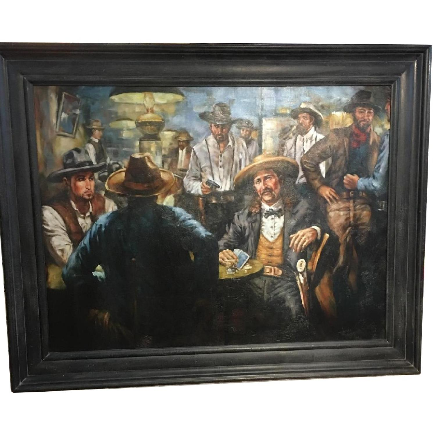 West Poker Gallery Wrap Le Beau Giclee Cowboy Painting - image-0