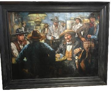 West Poker Gallery Wrap Le Beau Giclee Cowboy Painting