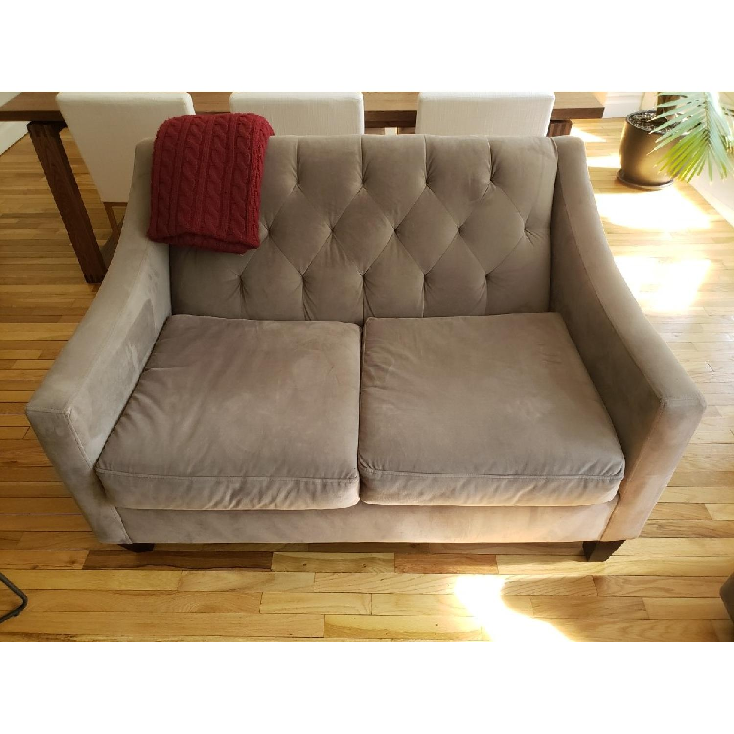 Macy's Velvet Tufted Loveseat in Granite - image-5