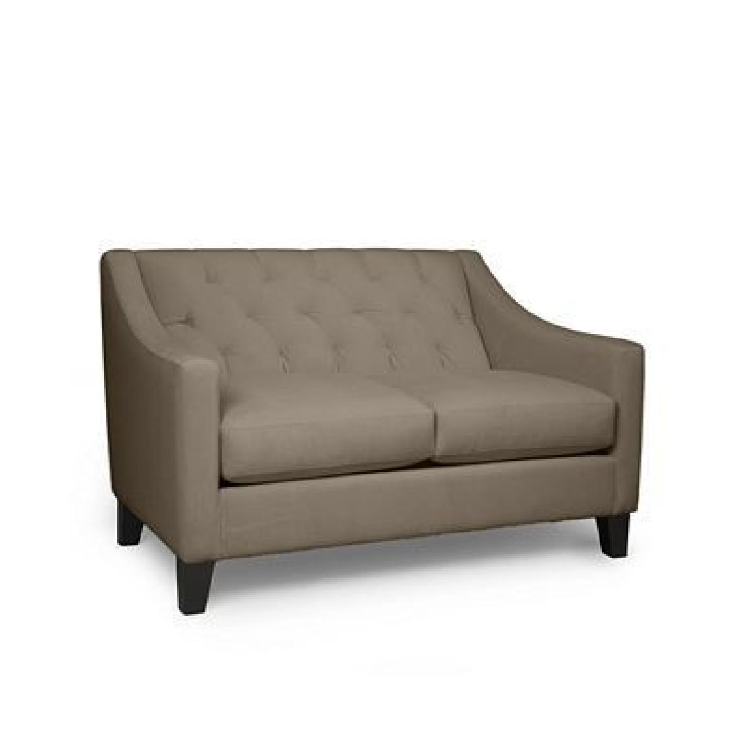 Macy's Velvet Tufted Loveseat in Granite - image-0