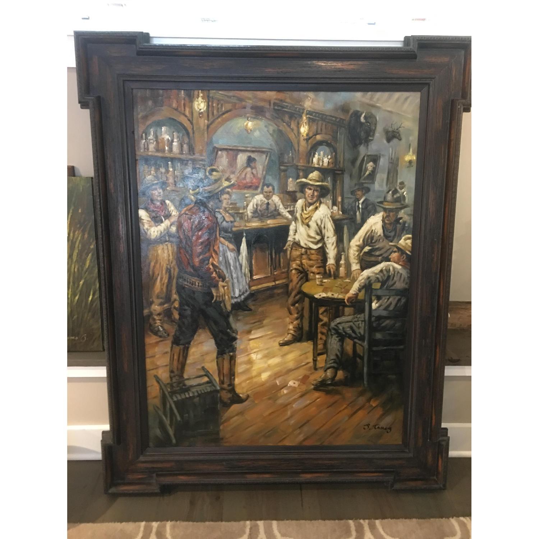 Framed Oil Painting - Cowboys at a Bar - image-1