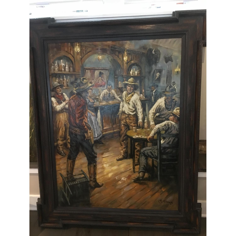 Framed Oil Painting - Cowboys at a Bar - image-2