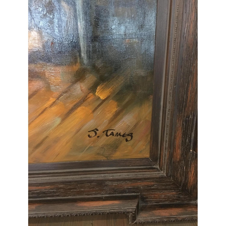 Framed Oil Painting - Cowboys at a Bar - image-5