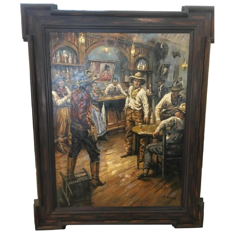 Framed Oil Painting - Cowboys at a Bar - image-0