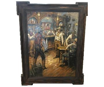Framed Oil Painting - Cowboys at a Bar