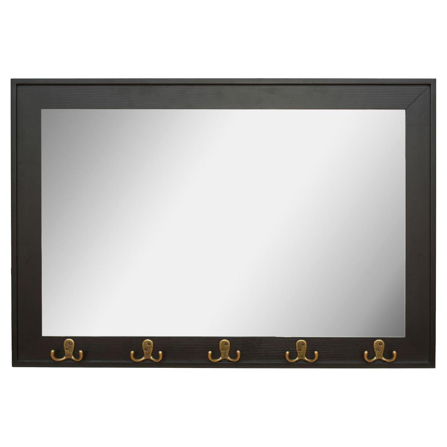 Target Rectangle Entryway Decorative Wall Mirror w/ Hooks - image-0