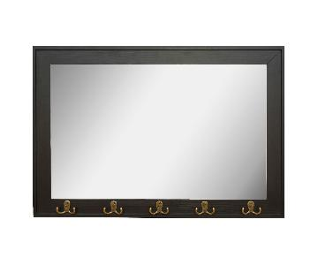 Target Rectangle Entryway Decorative Wall Mirror w/ Hooks