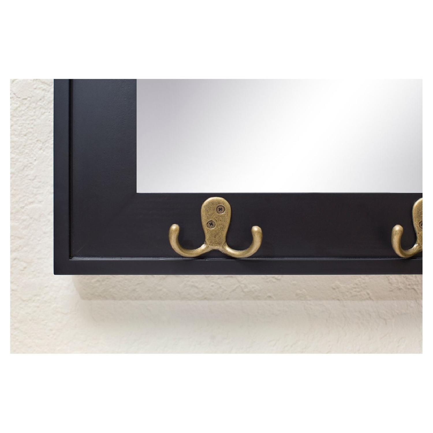 Target Rectangle Entryway Decorative Wall Mirror w/ Hooks - image-1