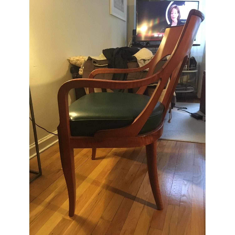 Custom Leather & Wood Armchair - image-2