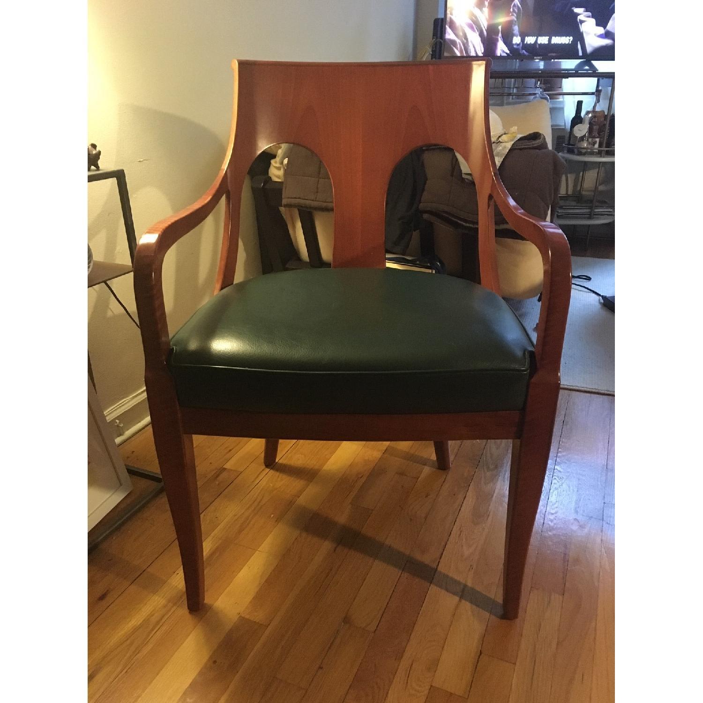 Custom Leather & Wood Armchair - image-3