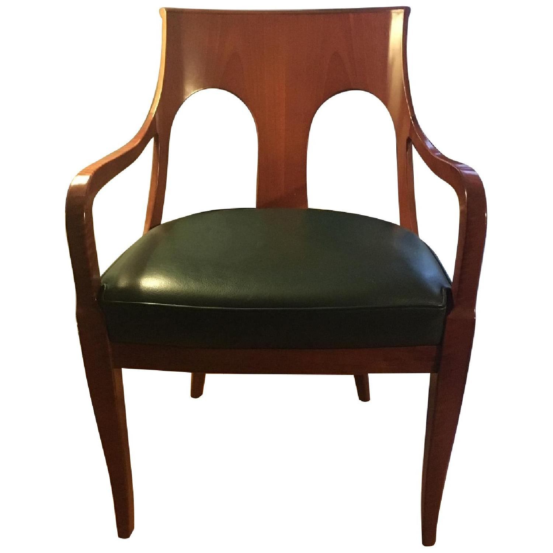 Custom Leather & Wood Armchair - image-0