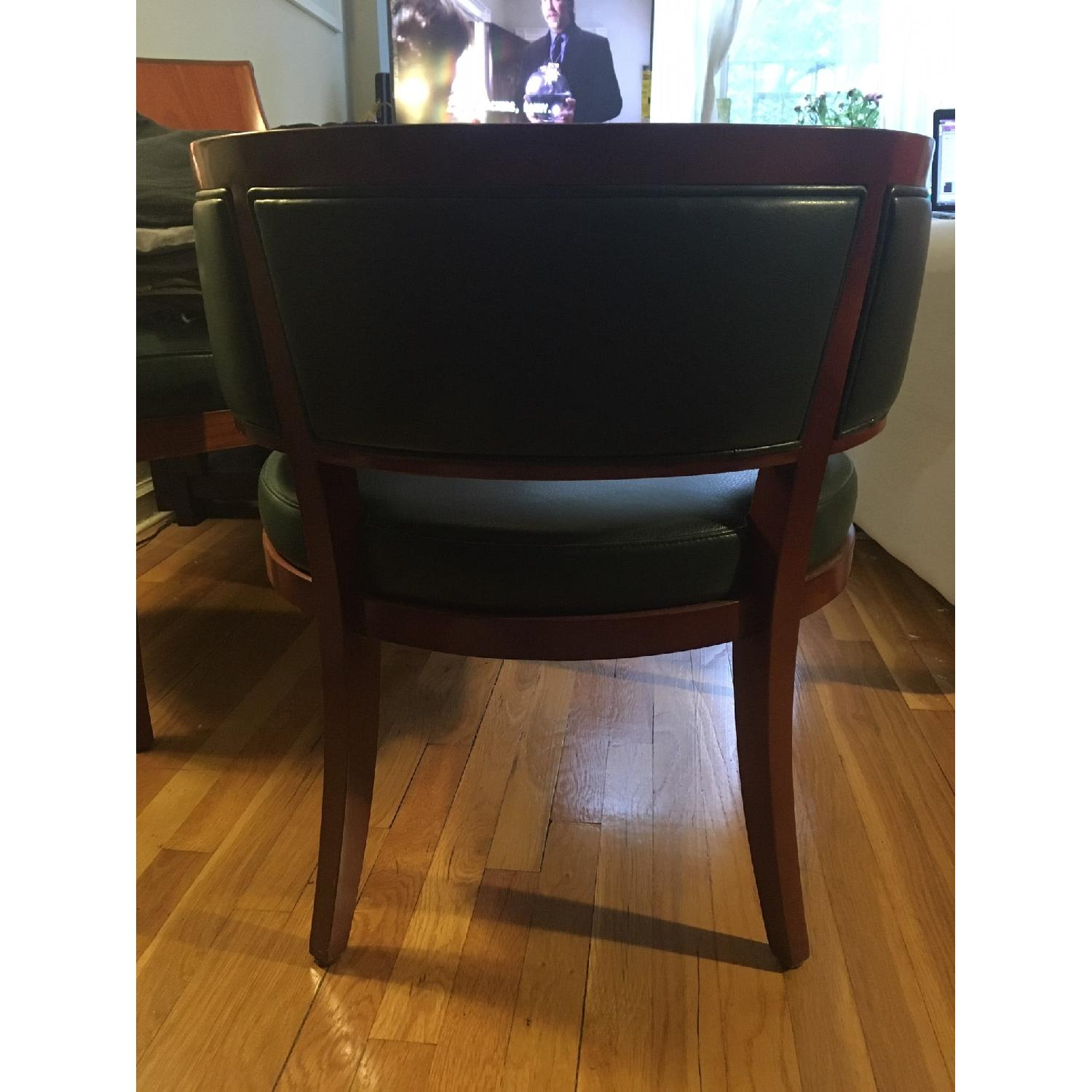 Custom Solid Wood & Green Leather Lounge Chair - image-4