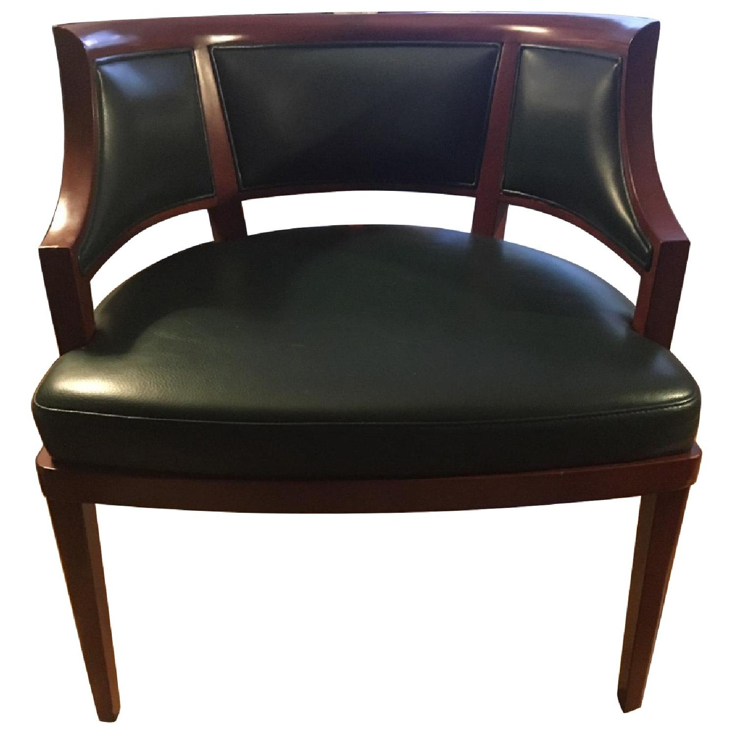 Custom Solid Wood & Green Leather Lounge Chair - image-0