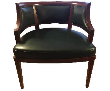 Custom Solid Wood & Green Leather Lounge Chair