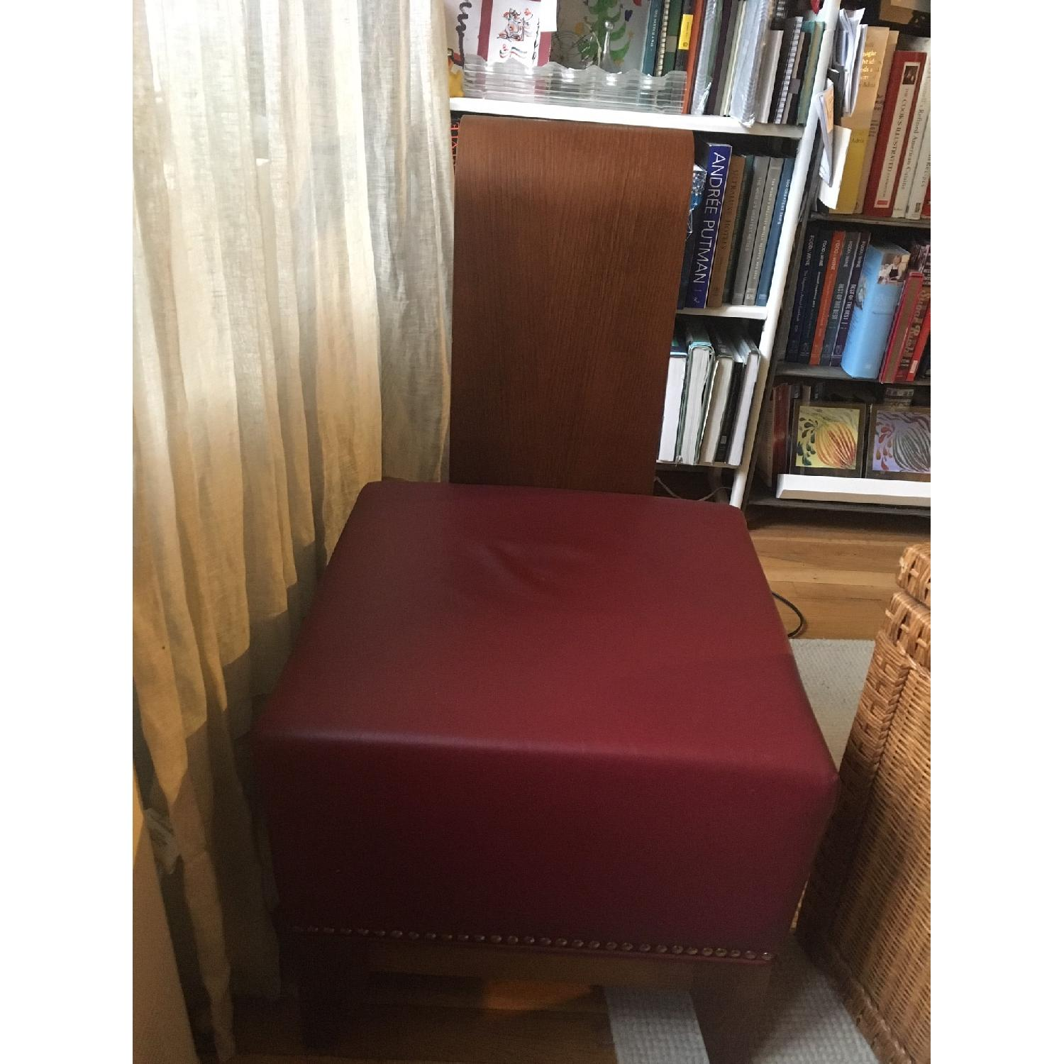 Custom Upholstered Red Leather Ottoman/Stool - image-2