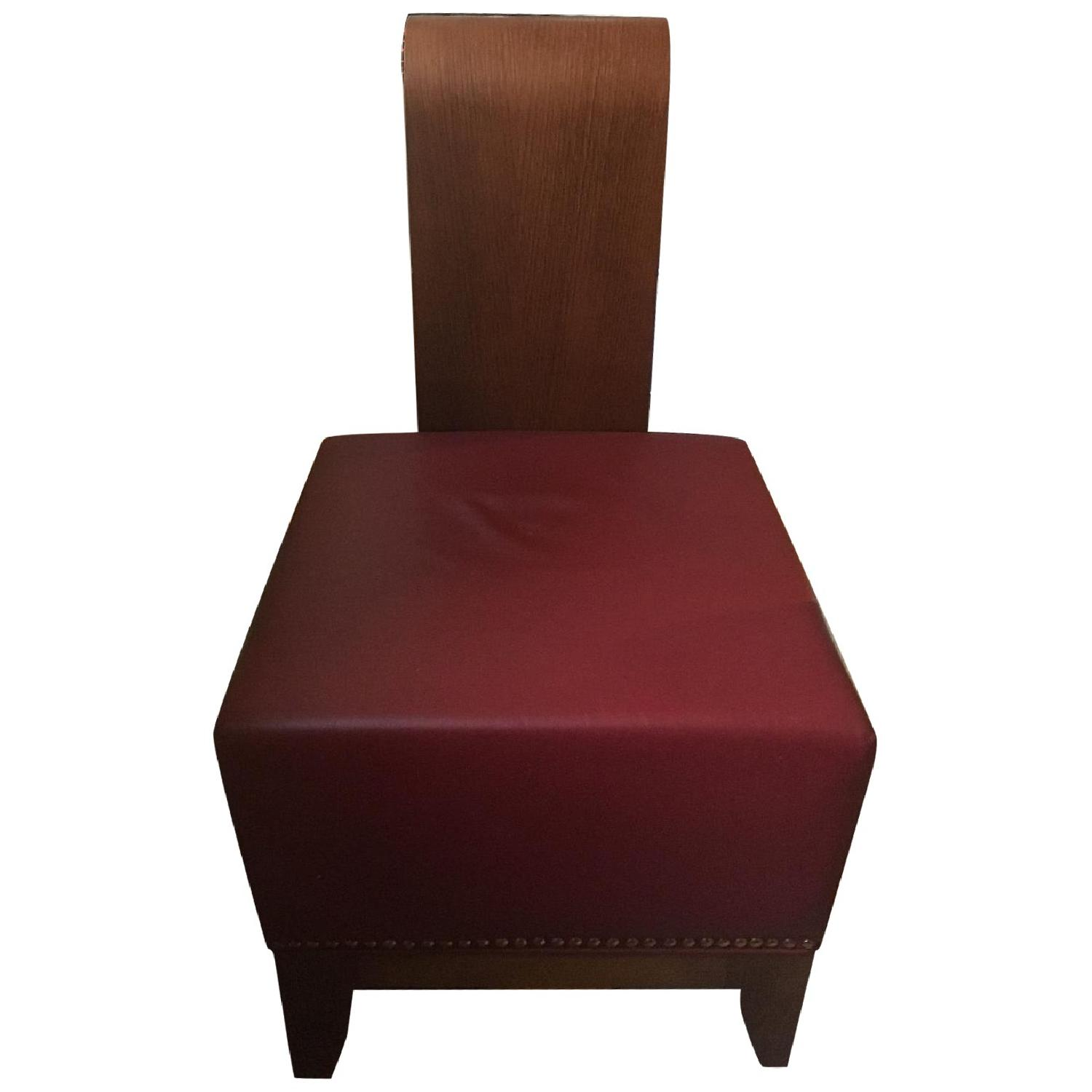 Custom Upholstered Red Leather Ottoman/Stool - image-0