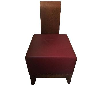 Custom Upholstered Red Leather Ottoman/Stool