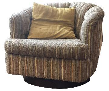 Chenille Swivel Club Chair