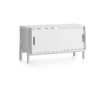 Crate & Barrel Sawyer Low White Media TV Stand