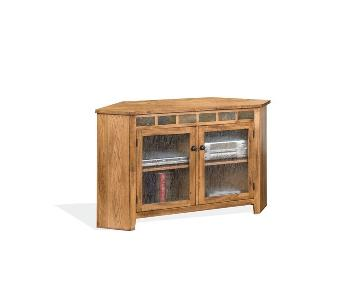Sunny Designs Sedona Corner TV Stand in Rustic Oak