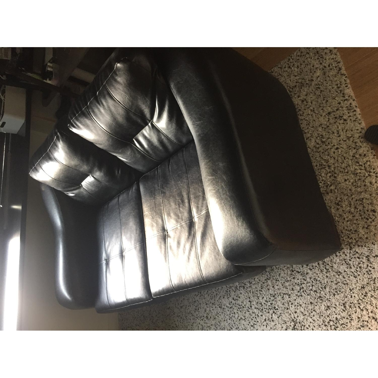 Black Faux Leather Loveseat - image-3