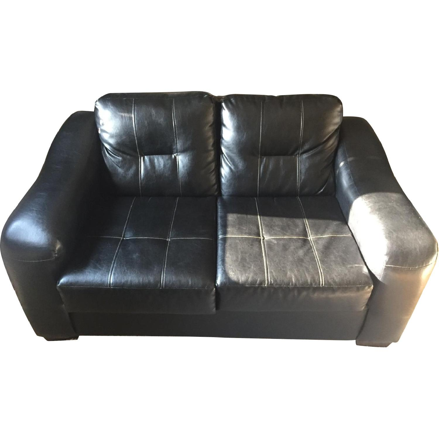 Black Faux Leather Loveseat - image-0