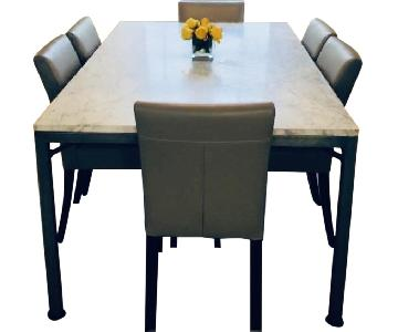 Crate & Barrel Parsons Marble Top Table w/ 6 Leather Chairs
