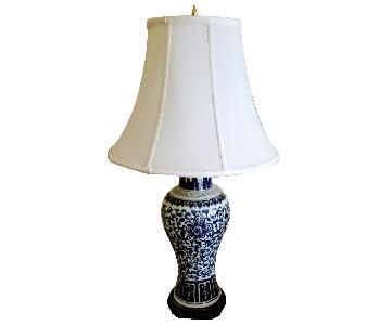 Chinese Patterned White & Blue Lamp