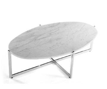 France and Son Oval Cantilevered Marble Coffee Table