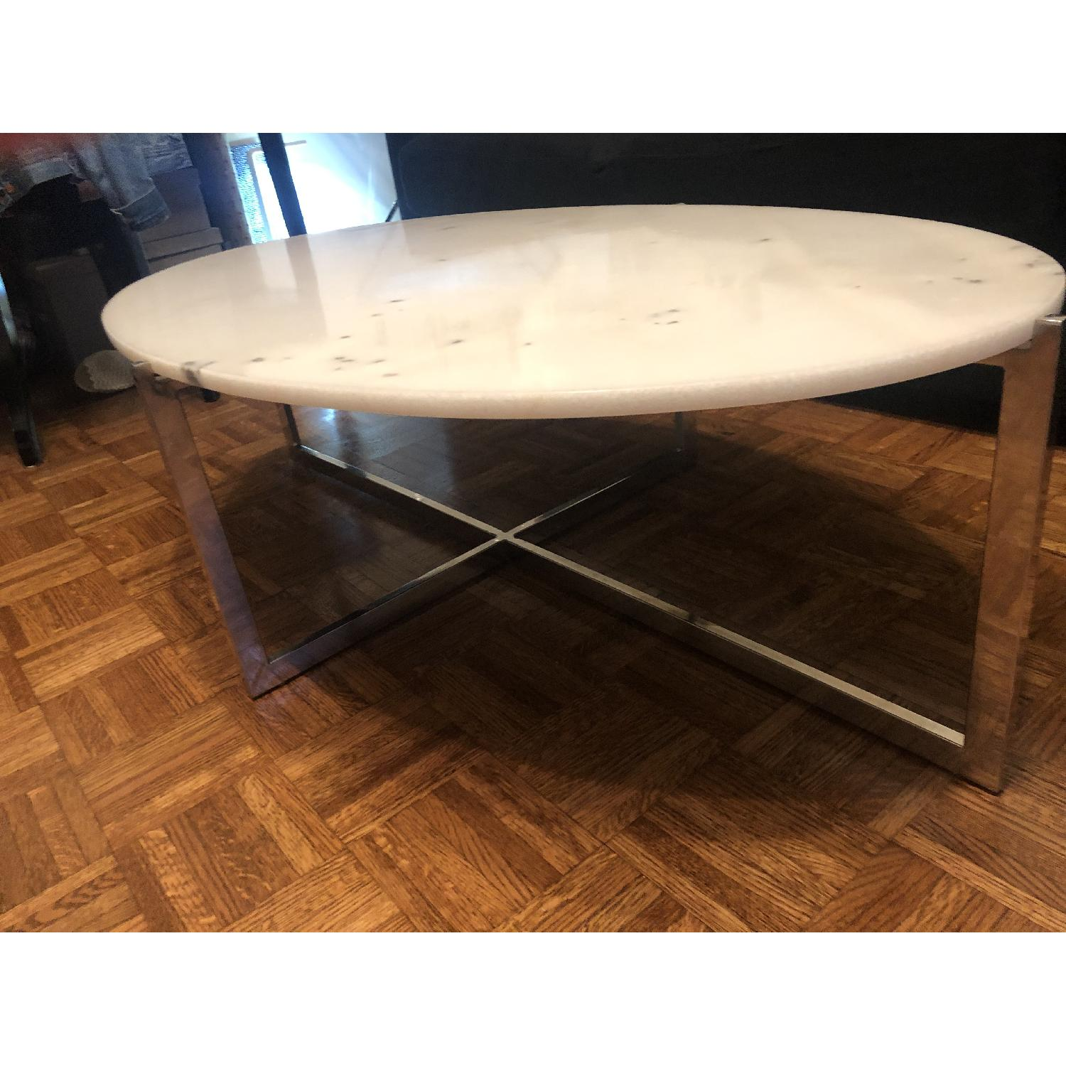 France and Son Oval Cantilevered Marble Coffee Table - image-1
