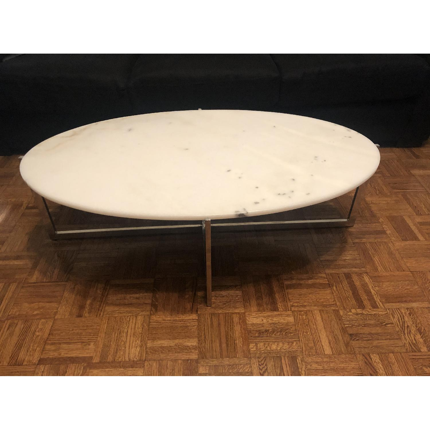 France and Son Oval Cantilevered Marble Coffee Table - image-2
