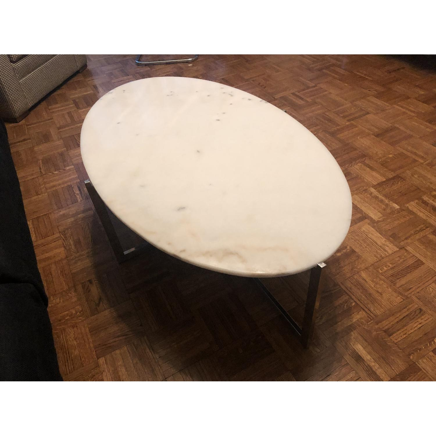 France and Son Oval Cantilevered Marble Coffee Table - image-3