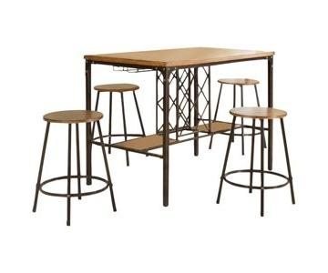 Baxton Studio Vintner Bar Table w/ 4 Stools