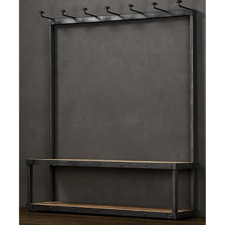 Restoration Hardware Wood & Iron Rack Bench - image-3