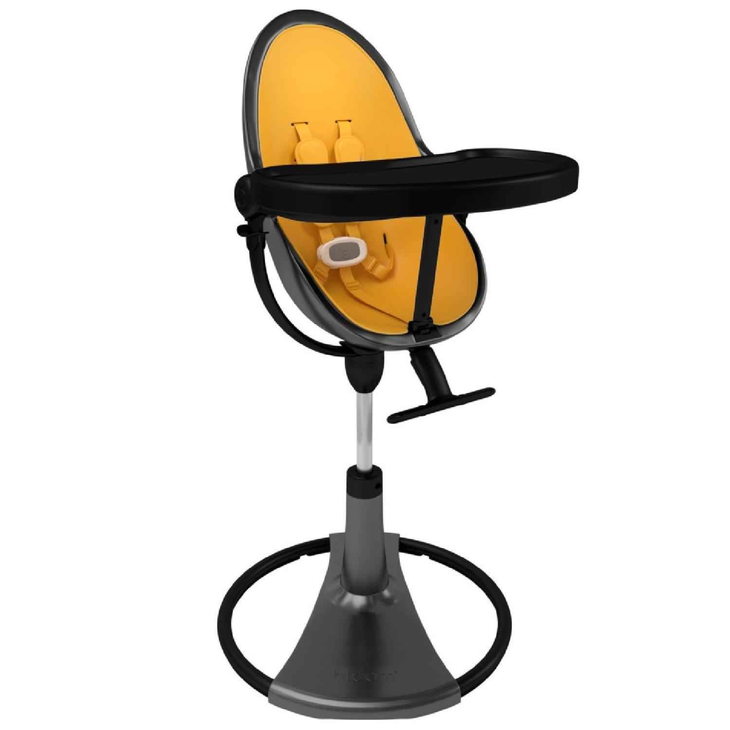 Bloom Fresco Highchair in Black w/ Yellow Seat Liners - image-1