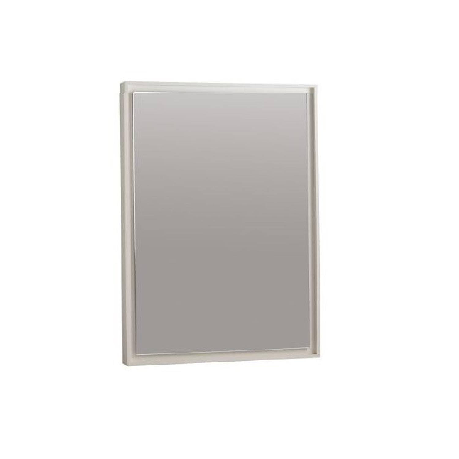 West Elm Floating Wood Wall Mirror in White - image-0