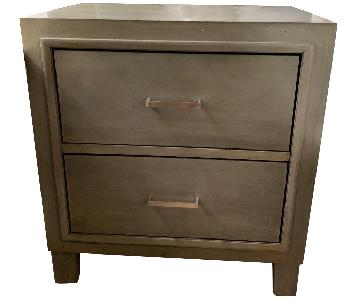 Dark Grey Wood 2-Drawer Nightstands