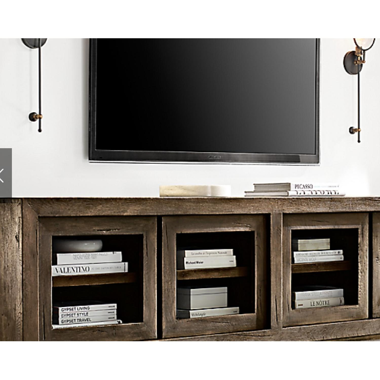 Restoration Hardware Reclaimed Oak Glass 4-Door Cabinet - image-3