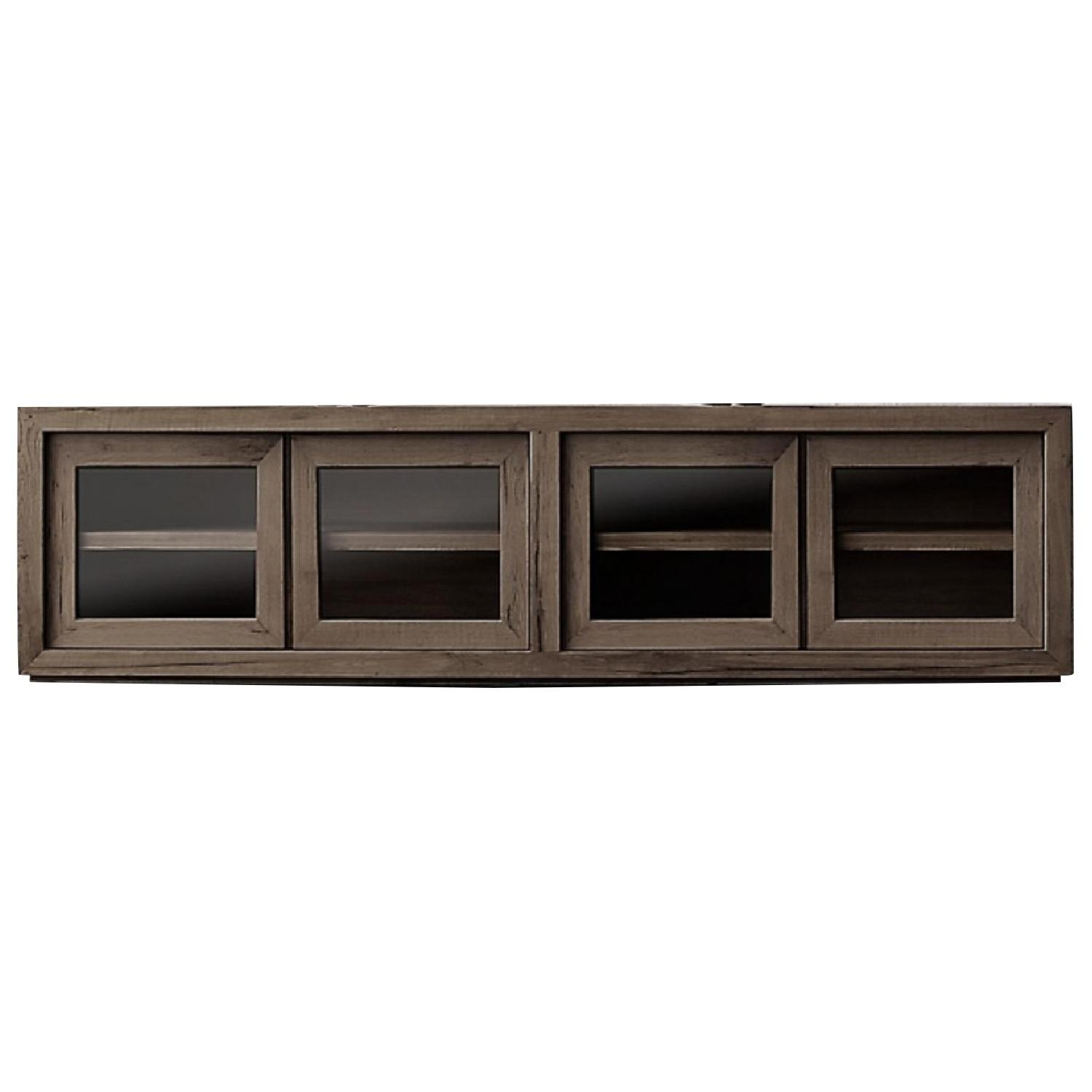Restoration Hardware Reclaimed Oak Glass 4-Door Cabinet - image-0