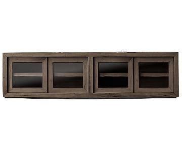Restoration Hardware Reclaimed Oak Glass 4-Door Cabinet