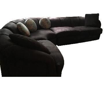 Huffman Koos 3 Piece Black Suede Sectional Sofa