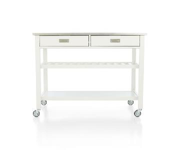 Crate & Barrel Kitchen Island in White & Stainless Steel