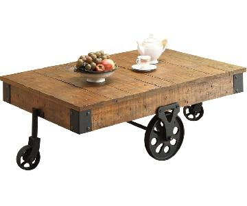 Rustic Grey Country Style Coffee Table w/ Wheels