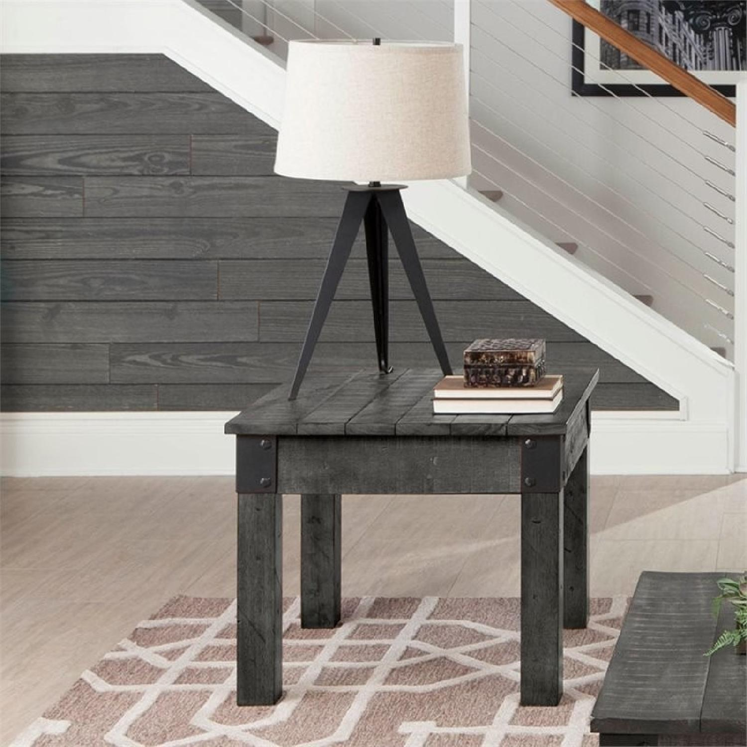Rustic Grey End Table-0