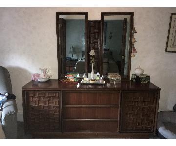 Vintage Bassett Triple Dresser w/ Mirrors