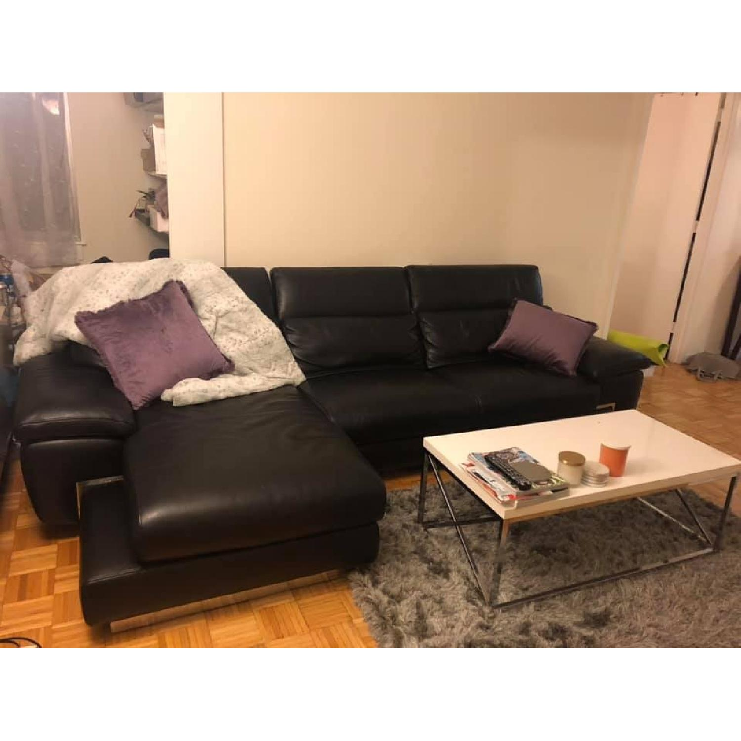 Black Leather Sectional Sofa W Chaise